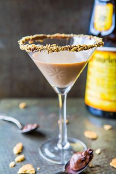 Creamy Nutella Martini with a Graham Cracker Crumb rim - Baileys & Nutella can do no wrong! Everything is better with Nutellla!