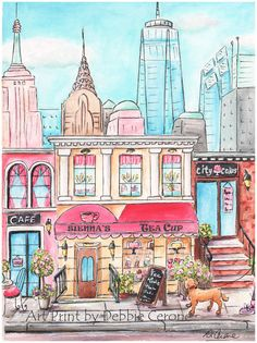 New York, New York! Who doesn't love New York? This adorable print, that has a tea shop that can be personalized with girl's name - is available as a fine art print in 6 sizes.  Print also available in a set of 3 - Paris, London and New York.