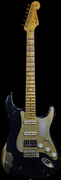 Wild West Guitars : Fender Masterbuilt John Cruz 1956 Stratocaster Heavy Relic Black over HLE Gold