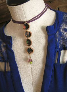 Repurposed Blue Leather Y Necklace Adjustable choker or long