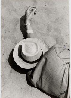 Lou Bernstein - Man in Suit, Panama Hat, Sleeping on Beach, 1957