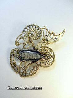 Brooch Capricorn Zodiac Pin wire wrapped jewelry art