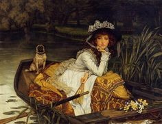 Young Woman in A Boat by the French 19th century painter, J.J.J. Tissot.