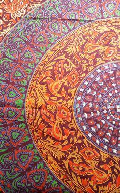 Purple & Orange Block Printed Mandala Throw with tassles. Traditional Indian bird, elephant and floral patterns inside a mandala pattern.