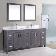 "Vanity Bathroom Costco new waves pedro 60"" double sink vanity with carrera marble top"
