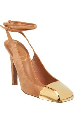 Yves Saint Laurent Suede slingback pump with gold-tone metal square cap toe and thin adjustable wrap around ankle tie.