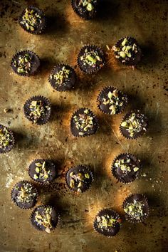 Chocolate Bourbon Caramel Cups with Salted Pistachios