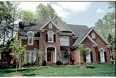 New American Style 2 story 4 bedrooms(s) House Plan with 2741 total square feet and 2 Full Bathroom(s) from Dream Home Source House Plans Brick House Plans, Sims House Plans, Best House Plans, Dream House Plans, House Floor Plans, American Houses, Dream House Interior, Luxury House Plans, House Front