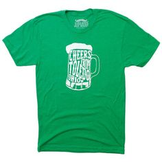 Here's to you from the Glass City, a (more than) glass half full kind of city. Avoid gettingpinched onSt. Patty's Day with this super soft green shirt! - Pol