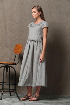 Grise robe en lin courtes manches ample printemps été