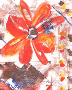 Abstract Paintings on Yupo paper featuring Pantone's colors for Summer 2012 : Tangerine Tango, Starfish and Sodalite Blue