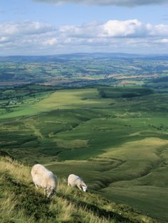 View North from Hay Bluff, with Distant Hay on Wye in Valley, Powys, Wales