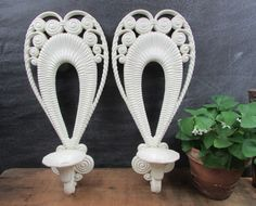 Items similar to White Wall Sconces Wicker Plastic Mid Century Kitschy Decor Retro Porch Sun Room on Etsy Mid Century Decor, Mid Century House, Sunroom Addition, Sunroom Decorating, American Manufacturing, Vintage Candle Holders, Vintage School, White Wicker, Novelty Items