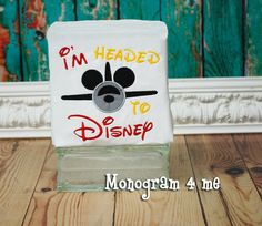 Mickey Mouse Airplane I'm Headed to Disney Applique by monogram4me
