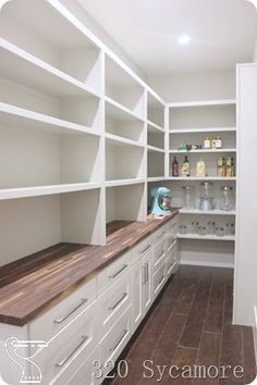 long pantry and butcher block. Love the idea of butcher block but wouldn't know where to put I as I don't long pantry and butcher block. Love the idea of butcher block but wouldn't know where to put I as I don't want it in my kitchen. #kitchenclosets