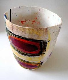Linda Styles    Big pot with 3 red oblongs    24 x 18 x 22 cms