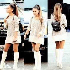 Adorable look by Ariana Grande Ariana Grande Outfits, Scream Queens, Kendall Jenner, Adriana Grande, Vogue, Knit Sweater Dress, Grey Sweater, Mode Outfits, Boho