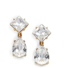 Kenneth Jay Lane Sparkle Drop Clip-On Earrings ($21) ❤ liked on Polyvore featuring jewelry, earrings, apparel & accessories, clear, kenneth jay lane earrings, crystal teardrop earrings, tear drop earrings, gold tone earrings and clear earrings