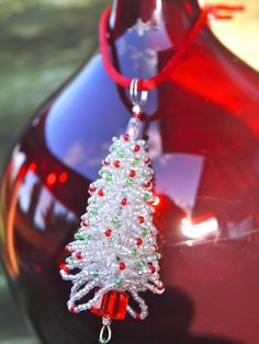 Christmas Tree Beaded Ornament in Silver by MSKbeads on Etsy
