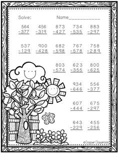 Spring Themed 3 Digit Subtraction With Regrouping Math Worksheets, Teaching Resources, Coloring Worksheets, Addition And Subtraction, Subtraction Regrouping, Math Sheets, Comprehension Activities, Math Games, Maths