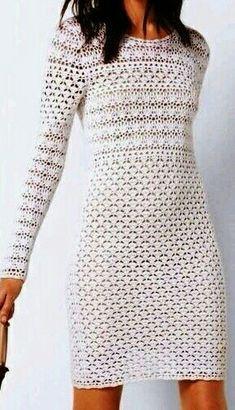 Vintage Crochet Dresses, Crochet Bodycon Dresses, Crochet Skirts, Crochet Blouse, Crochet Clothes, Crochet Lace, Knit Dress, Cardigan Fashion, Crochet Fashion
