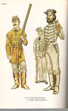 Private Rifle Volunteers, private Palmetto Guards and private Volunteer Infantry.