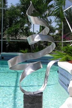Abstract Silver Freestanding Metal Sculpture by JonAllenMetalArt
