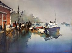 Foggy Morning - Maine Thomas W Schaller - Watercolor