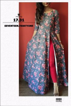 Tall girls out there this is a perfect Anarkali kurti for u A single side slit anarkali Cost of dis dress plz Must have for that oomph in your wardrob For Foral design Kurta Designs Women, Salwar Designs, Long Kurta Designs, Indian Gowns Dresses, Pakistani Dresses, Bollywood Dress, Indian Attire, Indian Outfits, Indian Wear