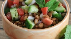 Lentils and crunchy vegetables are tossed in a vinaigrette for a quick and easy salad perfect for picnics or lunch.