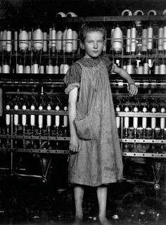 """<b><a href=""""http://www.morningsonmaplestreet.com/addiesearch1.html"""">Addie Card, spinner in cotton mill, 12 years old, North Pownal, Vermont, 1910.</a></b> <br><br> """"anemic little spinner in North Pownal Cotton Mill."""" —Hine's original caption<br><br> """"She told me about how hard it was working in the mill, that she had to quit school in the fourth grade to go to work, about her father disowning her, and how it was so awful not to have your parents' love."""" —Great-Granddaughter of Addie Card"""