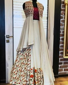 Paired with jacket . Modern cuts and silhouettes with traditional embellishments and detailing. Choli Designs, Lehenga Designs, Blouse Designs, Indian Attire, Indian Outfits, Indian Wear, Indian Designer Outfits, Designer Dresses, Stylish Dresses