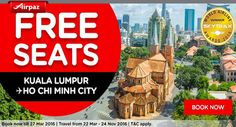 FREE SEAT ! Fly from Kuala Lumpur to Ho Chi Minh City with RM 0 Base Fare ! What are you waiting for? Book Now  More info : http://ow.ly/ZMRQL  #FREESEATS #AirAsia #Airpaz #Travel #Flights #Malaysia #Backpacker #Backpacking #Trip #Vacation #BestDeal #Traveling #Holiday