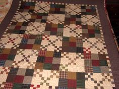 Homespun grab bag scraps from Primitive Gatherings made this Kim Diehl quilt pattern.