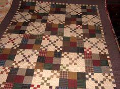 Homespun grab bag scraps from Primitive Gatherings made this Kim Diehl quilt pattern.