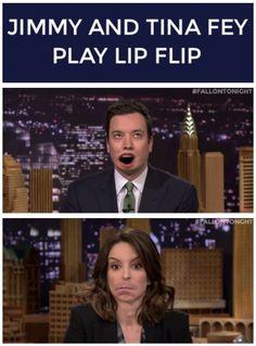 Jimmy and Tina Fey play lip flip