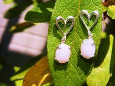 Sterling Silver Sweetheart Earring w/ Pink by GoldiesNaturalGems