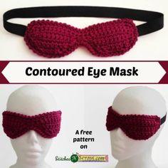 Contoured Eye Mask - free crochet pattern by Pia Thadani at Stitches 'n' Scraps. Crochet Eyes, Crochet Mask, Crochet Home, Love Crochet, Crochet Gifts, Beautiful Crochet, Diy Crochet, Crochet Flowers, Crochet Things