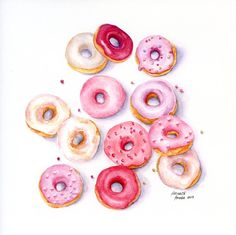 Mini Pink Doughnuts  ORIGINAL Painting Still por ForestSpiritArt