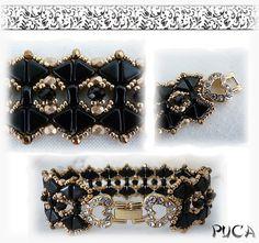 """Schéma ...Bracelet  """" Océa"""" de Les perles de Puca Rocaille 11  Rocaille 15  Khéops  et abacus 2x3mm et des 3x4  Facettes 3mm  Perles Bibo"""