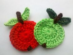 2 Apples handmade crochet apples appliques by Qspring on Etsy / FINISHED PRODUCT for sale / for cards, crafting, clothes, hair clips, etc.