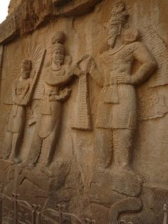 Taq-i-Bustan is a series of large rock relief from the era of Sassanid Empire of Persia, the Iranian dynasty which ruled western Asia from 226 to 650 AD. This example of Sassanid art is located 5 km from the city center of Kermanshah in western Iran. It is located in the heart of the Zagros mountains, where it has endured almost 1,700 years of wind and rain.