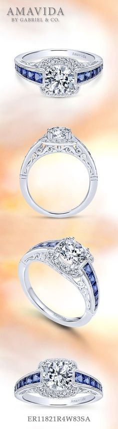 Gabriel NY - Voted #1 Most Preferred Fine Jewelry and Bridal Brand. Vintage 18k White Gold Round Halo  Engagement Ring