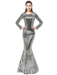 7ef3c602cc Jicjichos 2019 Women s Evening Dress Sequin Mermaid Long Formal Prom Gown  J059 at Amazon Women s Clothing store