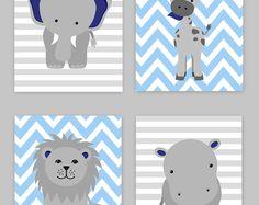 Zoo vivero Decor, Baby Boy vivero, muchacho Zoo guardería, azul marino y gris, Safari infantil, decoración de selva, Hippo decoración, jirafa, arte de la lona de Zoo