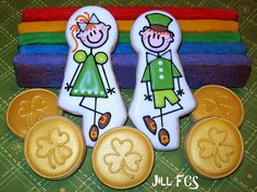 Irish Step Dancer, stick figure dancers, cookies by Funky Cookie Studio for St Patty's Day Irish Cookies, St Patrick's Day Cookies, Cute Cookies, Royal Icing Cookies, Holiday Cookies, Sugar Cookies, Filled Cookies, Decorated Cookies, Flood Icing