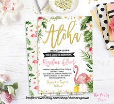 Flamingo Baby Shower invitation, Tropical Baby Shower, Pineapple invite, Aloha, Luau, Gold Floral Pink Flamingo Baby girl This listing is a digital file for DIY printing. No physical product will be sent. This listing is a 5x7 digital printable invitation for you to print either at