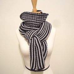Luxurious Merino Blue Black Chunky Knit Scarf for Men by IRISMINT