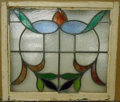 "MID SIZED OLD ENGLISH LEADED STAINED GLASS WINDOW Stunning Design 28.25"" x 24.5"