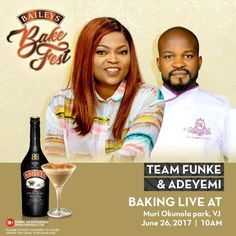 Great Naija UpComing Events To Attend This Month   Baileys Nigeria took the bold step by giving upcoming bakers Tolu Fimisade Yemisi and Segun a shot at the big time.  A celebrity bakeoff will be staged as part of the Baileys Bakefest to give these promising talents a  platform to showcase their baking skills. To attend the Baileys Bakefest on Monday 26 of June all you have to do is follow @BaileysNigeria and send a direct message for your free invite. Date: June 26 2017.Venue: Muri Okunola…
